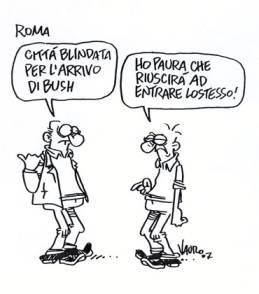 Vignetta Vauro sulla visita a Roma di Bush il 9 giugno 2007