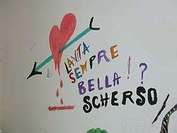 graffito sul muro del cpt di gradisca